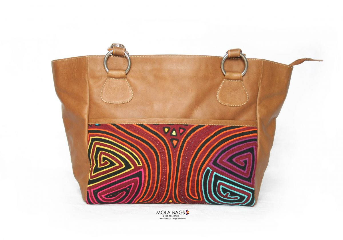 df0fe97d8 Large Leather Tote Bag - Geometric Ethnic Sunset - Handmade in Colombia!