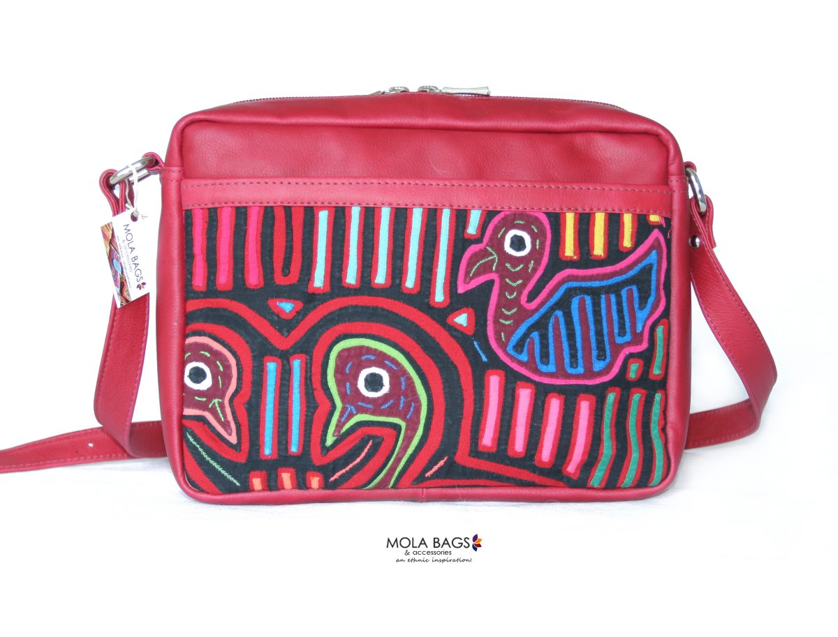 9413702f0ff8 Small Leather Cross-body Bag with Mola - Handmade in Colombia